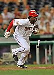 16 August 2008: Washington Nationals' outfielder Lastings Milledge in action against the Colorado Rockies at Nationals Park in Washington, DC.  The Rockies defeated the Nationals 13-6, handing the last place Nationals their 9th consecutive loss. ..Mandatory Photo Credit: Ed Wolfstein Photo