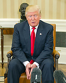United States President-elect Donald Trump makes remarks to the media pool after meeting with US President Barack Obama in the Oval Office of the White House in Washington, DC on November 10, 2016.<br /> Credit: Ron Sachs / CNP<br /> (RESTRICTION: NO New York or New Jersey Newspapers or newspapers within a 75 mile radius of New York City)