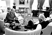 United States Representative Leslie Arends (Republican of Illinois), right, meets United States President Gerald R. Ford in the Oval Office at the White House in Washington, D.C. on August 11, 1974.<br /> Mandatory Credit: David Hume Kennerly / White House via CNP