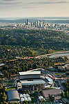 Seattle skyline with aerial view of the newly renovated Husky Stadium