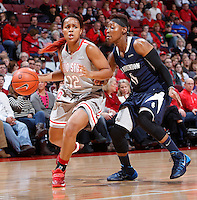 Ohio State Buckeyes guard Maleeka Kynard (12) is guarded by Old Dominion Lady Monarchs guard Stephanie Gardner (0) during Friday's NCAA Division I basketball game at Value City Arena in Columbus on November 22, 2013. Ohio State led at halftime, 36-26. (Barbara J. Perenic/The Columbus Dispatch)