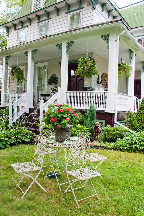 Antique Furniture In Garden With House Plant amp Flower