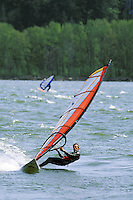 Man sailboarding on Columbia River, Washington