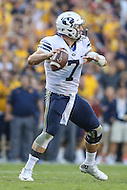 Landover, MD - September 23, 2016: BYU Cougars quarterback Taysom Hill (7) attempts a pass during game between BYU and WVA at  FedEx Field in Landover, MD.  (Photo by Elliott Brown/Media Images International)