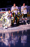 24 November 2009: University of Vermont Catamount goaltender Mike Spillane, a Senior from Bow, NH, is introduced prior to facing the University of Massachusetts Minutemen at Gutterson Fieldhouse in Burlington, Vermont. The Minutemen defeated the Catamounts 6-2. Mandatory Credit: Ed Wolfstein Photo