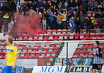 Dunfermline v St Johnstone..24.12.11   SPL .St Johnstone fans set off a smoke bomb in the stands, one person was arrested..Picture by Graeme Hart..Copyright Perthshire Picture Agency.Tel: 01738 623350  Mobile: 07990 594431