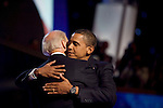 Democratic National Convention, 2008: Senator Barack Obama (D-Illinois) surprises the convention by coming on stage after Senator Joe Biden (D-Delaware) was declared the Democratic vice-presidential candidate. Denver, Colorado, August 27, 2008.