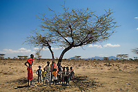 A group of Samburu school kids seek shelter from the strong sun in the shade of an acacia tree. The Samburu are a pastoral, nomadic people who live in northern Kenya.  Their customs, language, and traditions are very similar to the more well known and legendary Maasai of Central and Southern Kenya.