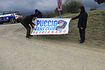 Salvatore Puccio (ITA) Team Sky fans on gravel sector 6 Pieve a Salti during the 2017 Strade Bianche running 175km from Siena to Siena, Tuscany, Italy 4th March 2017.<br /> Picture: Eoin Clarke | Newsfile<br /> <br /> <br /> All photos usage must carry mandatory copyright credit (&copy; Newsfile | Eoin Clarke)