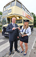"""***NO REPRODUCTION FEE***25/05/14 Conductor Jane Kendlin from Clontarf and Dublin Port CEO Eamonn O'Reilly are pictured with a 1961 CIE Leyland PD3 double decker at the announcement of the inaugural Dublin """"Vintage Port"""" Rally which will take place on Sunday 28th September 2014. Veteran, Vintage and Classic private and commercial vehicles from all over Ireland will gather at Dublin Port for this major event, further details of which are available at www.dublinportrally.com Picture Colin Keegan, Collins Dublin. ***NO REPRODUCTION FEE**"""
