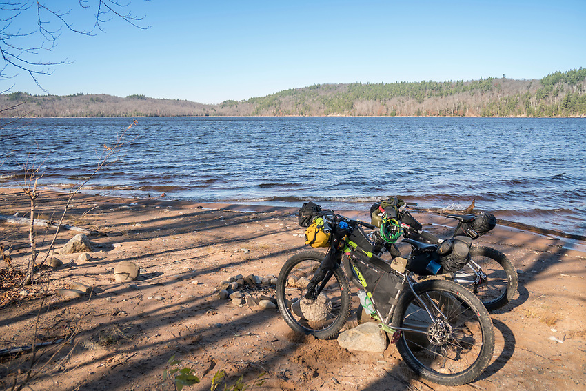 Bikepacking in Marquette County, Michigan near Silver Lake Basin.