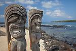 Two ki'i, or guardian statues of the Place of Refuge in the Pu`uhonua O H?naunau National Historic Park, The Big Island of Hawa'i, Hawai'i, USA