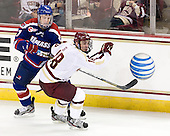 Zack Kamrass (UML - 27), Michael Sit (BC - 18) - The Boston College Eagles defeated the visiting University of Massachusetts Lowell River Hawks 6-3 on Sunday, October 28, 2012, at Kelley Rink in Conte Forum in Chestnut Hill, Massachusetts.