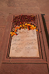 Asia, India, Uttar Pradesh, Fatehpur Sikri. A tombstone in the courtyard at Fatehpur Sikri.