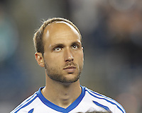 Montreal Impact midfielder Justin Mapp (21). In a Major League Soccer (MLS) match, Montreal Impact (white/blue) defeated the New England Revolution (dark blue), 4-2, at Gillette Stadium on September 8, 2013.