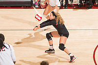 Stanford, CA -- October 9, 2016. Stanford Women's Volleyball loses in four sets to Utah 3-1 at Maples Pavilion.