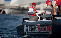 Extreme Sailing Series 2011. Leg 1. Muscat. Oman.Day 5 of racing.   Picture showing Artemis Racing skippered by Terry Hutchinson