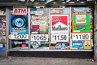 Advertisement for cigarettes on the wall of a grocery store in New York on Saturday, November 22, 2014. (© Richard B. Levine)