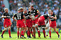 Jim Hamilton of Saracens is congratulated by team-mates after securing a penalty. Aviva Premiership Final, between Saracens and Exeter Chiefs on May 28, 2016 at Twickenham Stadium in London, England. Photo by: Patrick Khachfe / JMP