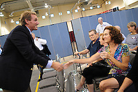 Apache Junction, Arizona. October 19, 2012 - Congressman Jeff Flake shakes the hand of a supporter who attended the Town Hall he and retiring Arizona Senator Jon Kyl held at the Mountain View Lutheran Church, in Apache Junction, Arizona. Flake is running for the senate seat Kyl is leaving. Photo by Eduardo Barraza © 2012