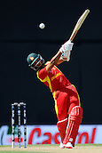 19.02.2015. Nelson, New Zealand.  Zimbabwe player Sikandar Raza hits out for the boundar yduring the 2015 ICC Cricket World Cup match between Zimbabwe and United Arab Emirates. Saxton Oval, Nelson, New Zealand.