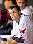 4 September 2009: Cleveland Indians' utilityman Jamey Carroll looks up at the scoreboard from the dugout during a game against the Minnesota Twins at Progressive Field in Cleveland, Ohio. Carroll went 3 for 5 as the Indians defeated the Twins 5-2 to take the first game of their three-game weekend series. Mandatory Credit: Ed Wolfstein Photo