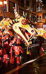 California, San Francisco: A dragon in the Chinese New Year Parade..Photo #: 29-casanf77762.Photo © Lee Foster 2008