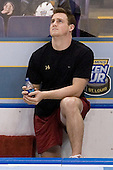 Matt Greene (Boston College - Plymouth, MA) watches highlights from a past Boston College NCAA overtime game prior to warmups. The Michigan State Spartans defeated the Boston College Eagles 3-1 (EN) to win the national championship in the final game of the 2007 Frozen Four at the Scottrade Center in St. Louis, Missouri on Saturday, April 7, 2007.
