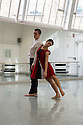 London, UK. 24.11.2014. Richard Alston Dance Company celebrates its 20th anniversary, at The Place. The company's first performances were at The Place from November 23rd to December 3rd 1994. Picture shows: Nancy Nerantzi and Liam Riddick working on BURNING. BURNING has its London premiere at Sadler's Wells on 26th & 27th January 2015. Photograph © Jane Hobson.