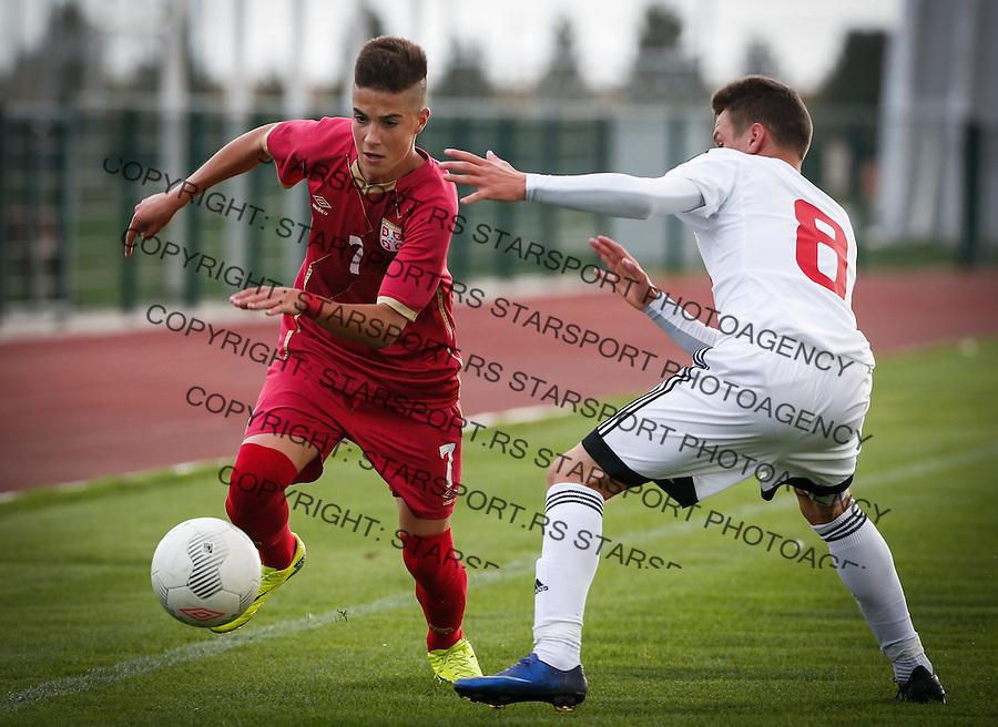 Fudbal Soccer<br /> International Friendly-Prijateljski mec<br /> Srbija U17 v Belorusiaj U17<br /> Aleksa Jankovic (L) <br /> Stara Pazova, 20.09.2016<br /> foto: Srdjan Stevanovic/Starsportphoto &copy;