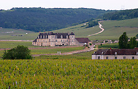 Chateau du clos de Vougeot and vineyard cote de nuits burgundy france