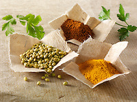 Coriander seed, ground chilli powder & ground turmeric spices