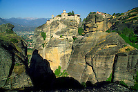 Kalambaka, Kastraki, Meteora, Greece, June 2006. Varlaam monastery with in the background The Great meteora monastery, better known as Metamorphosis. The Monastaries of Meteora can be found high on the steepest rocks, Photo by Frits Meyst/Adventure4ever.com