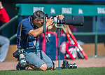 6 March 2016: St. Louis Cardinals photographer Team Photographer Taka Yanagimoto takes photos prior to a Spring Training pre-season game against the Washington Nationals at Roger Dean Stadium in Jupiter, Florida. The Nationals defeated the Cardinals 5-2 in Grapefruit League play. Mandatory Credit: Ed Wolfstein Photo *** RAW (NEF) Image File Available ***