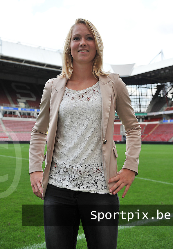 20130814 - EINDHOVEN , NETHERLANDS :  ADO Den Haag 's Lucienne Reichardt<br /> pictured during the BENELEAGUE Kick-off Meeting , in the Philips Stadion in Eindhoven prior to season 2013-2014 in the BENE - League competition . Wednesday 14 August 2013. PHOTO DAVID CATRY