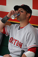 OAKLAND, CA - APRIL 2:  Dustin Pedroia of the Boston Red Sox drinks an energy drink in the dugout before the game against the Oakland Athletics at the McAfee Coliseum in Oakland, California on April 2, 2008.  The Red Sox defeated the Athletics 5-0.  Photo by Brad Mangin
