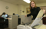 WATERBURY, CT-01 February 2005-020105TK18  Stephanie George(left) and Jamie Pelletier, customer service representatives at J&L Medical Service, prepare billing invoices.  Tom Kabelka staff photo (Stephanie George, Jamie Pelletier, J&L Medical Service)CQ