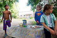 The kids selling Chocolate Chip cookies by the side of the road. At The Barn with family in Bridgehampton summer 2014.  Long Island, New York.
