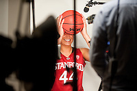 DENVER, CO--Joslyn Tinkle has fun while filming during media day at the Pepsi Center for the 2012 NCAA Women's Final Four in Denver, CO.