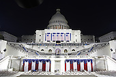 Washington, DC - January 19, 2009 -- The United States Capitol is illuminted the night before he Inauguration of President Barack Obama in Washington, DC..Credit: Scott Andrews - Pool via CNP