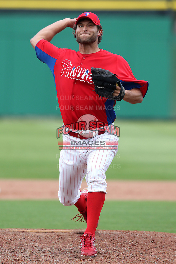 Philadelphia Phillies Michael Schwimer #78 during a scrimmage vs the Florida State Seminoles  at Bright House Field in Clearwater, Florida;  February 24, 2011.  Philadelphia defeated Florida State 8-0.  Photo By Mike Janes/Four Seam Images