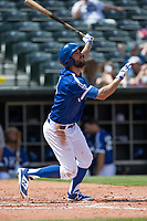 Chris Taylor (3) of the Oklahoma City Dodgers watches a foul ball during a game against the Iowa Cubs at Chickasaw Bricktown Ballpark on April 9, 2016 in Oklahoma City, Oklahoma.  Oklahoma City defeated Iowa 12-1 (William Purnell/Four Seam Images)