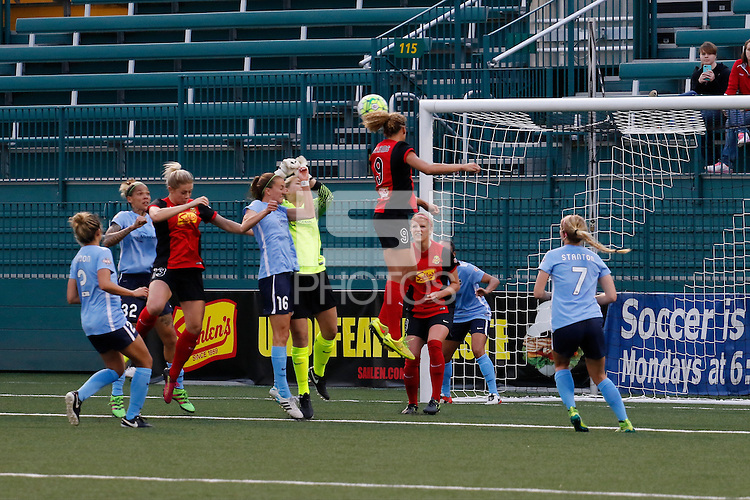Rochester, NY - Saturday May 21, 2016: Western New York Flash forward Lynn Williams (9) goes up for a header in front of the Sky Blue FC goal. The Western New York Flash defeated Sky Blue FC 5-2 during a regular season National Women's Soccer League (NWSL) match at Sahlen's Stadium.