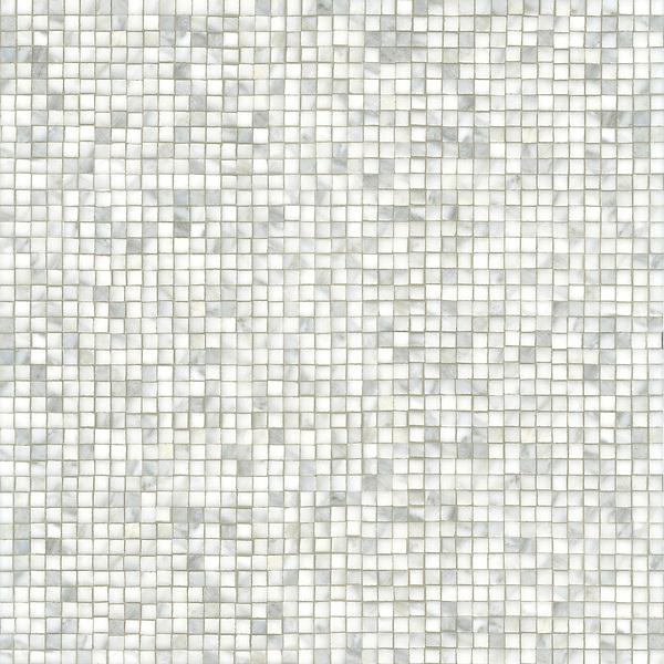 Gridded 1 1/2 cm, a hand-cut stone mosaic, shown in polished Calacatta.