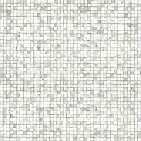 Gridded 1 1/2 cm, a hand-cut stone mosaic, shown in polished Calacatta.