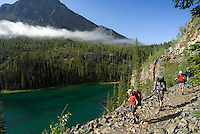 The Highline trail, Alberta and British Columbia, Canada, August 2008. Morning fog lifts over Vista Lake near Hwy 93. The Banff Highline trail can be hiked in 7 days and runs through Banff National park as well as Assiniboine Provincial park. Photo by Frits Meyst/Adventure4ever.com