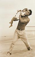 Fashion Shoot at the beach for Men's Drawstring Pants