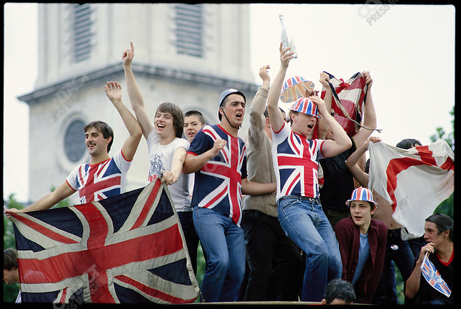 Spectators at the wedding of Prince Charles to Lady Diana Spencer. London, England, July 29, 1981.