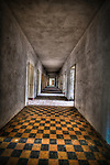 Interior of old tanks barracks somewhere near Berlin with tiled corridor floor