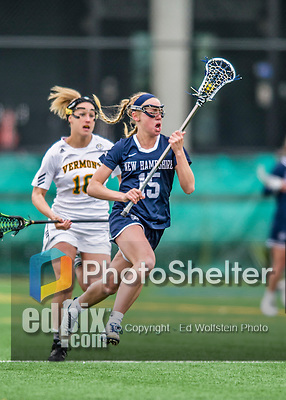 25 April 2015: University of New Hampshire Wildcat Midfielder Carly Wooters, a Freshman from White Plains, NY, in action against the University of Vermont Catamounts at Virtue Field in Burlington, Vermont. The Lady Catamounts defeated the Lady Wildcats 12-10 in the final game of the season, advancing to the America East playoffs. Mandatory Credit: Ed Wolfstein Photo *** RAW (NEF) Image File Available ***